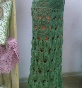 Красивая зеленая ажурная юбка (новая)