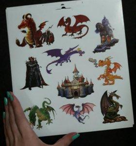 Наклейки с драконами и замками
