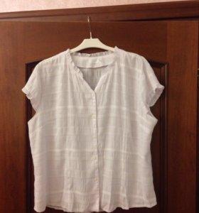 Белая блузка, хлопок 52-54