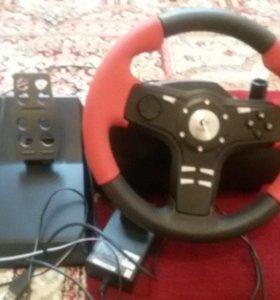 Рул с педалями для компьютерных игр гонки