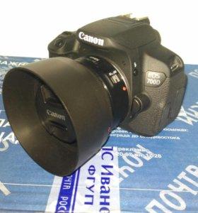 Canon EOS 700D+18-55is stm+50stm+пульт+сумка+...