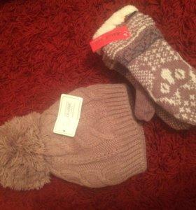 Комплект шапка и рукавицы