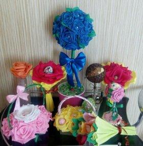 Топиарии,цветы с конфетами,декоративные вазы