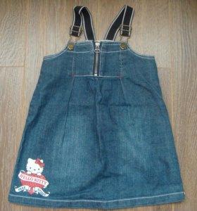 Сарафан джинсовый для девочки Hello Kitty