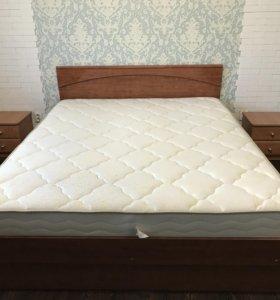 Кровать, ортопедическое основание и 2 тумбы