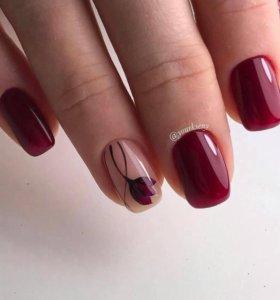 Наращивание ногтей, покрытие шеллак