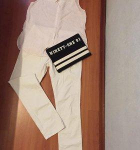 Белые джинсы и рубашка