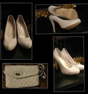 Новые свадебные туфли + даром клатч