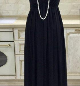 Длинное чёрное шифоновое платье в пол