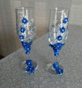 Бокалы свадебные с синими цветами