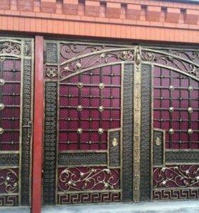 Кованные изделия: ворота, перила, двери, навесы.