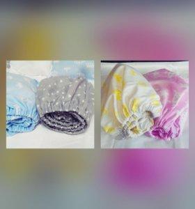 Простынки на резинки для детской кроватки