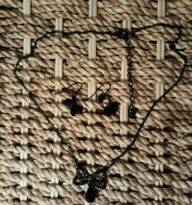 Комплект серьги и украшение на шею