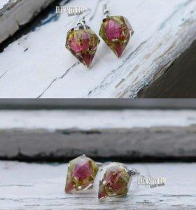 Серьги кристаллы новые ручная работа