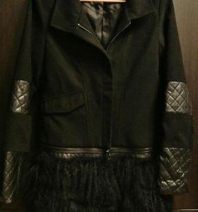 Пальто с мехом и кожей