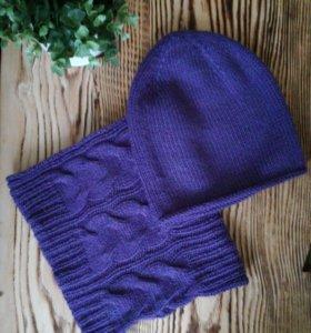 Комплект ручной работы (шапка бини и снуд )