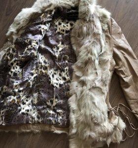 Кожаная куртка, с натуральным мехом