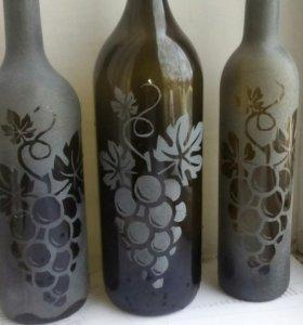 Нанесение рисунков на стеклянные бутылки