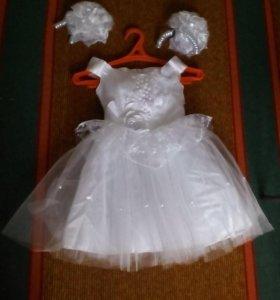 Новое нарядное платье(110-116)+босаножки(16.5)