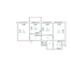 Квартира, 3 комнаты, 80.2 м²