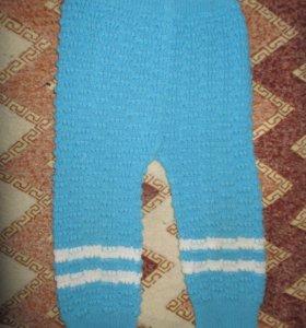 Штаны вязаные теплые голубые на 1-2 года