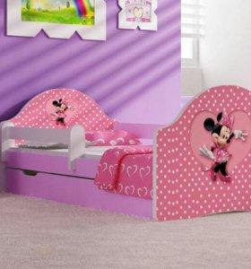 Новая детская кровать с матрасом и ящиком