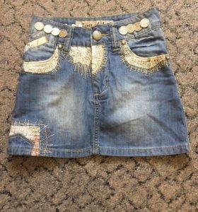 Новая джинсовая юбочка на девочку