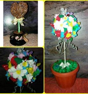 Кофейный топиарий, цветочный топиарий