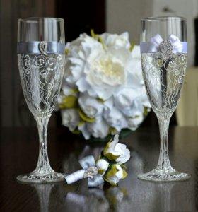 Свадебный букет+бутоньерка+бокалы