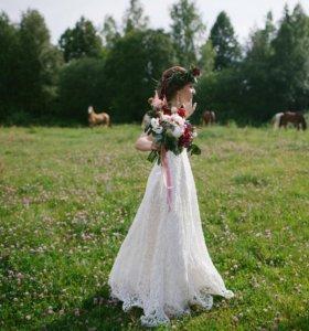 Свадебное платье из кружева в стиле рустик