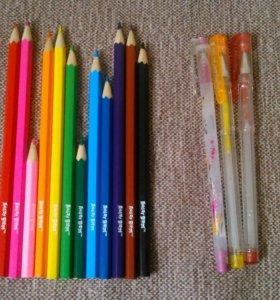 Цветные карандаши и ручки с блёстками