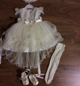 Продам платье+повязка+пинетки