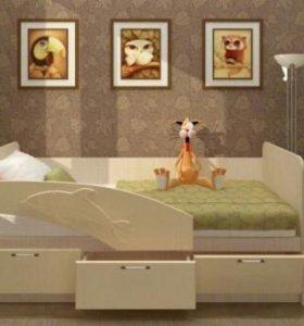 Кровать с бортиком дельфин