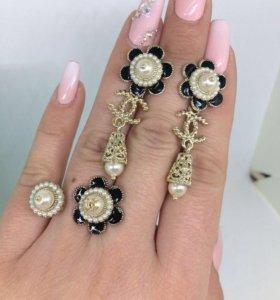 Комплект Chanel люкс серьги, кулон, кольцо