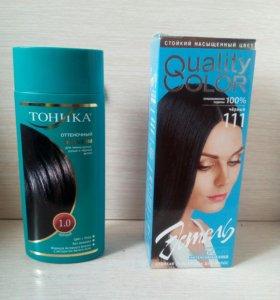Черный бальзам и черная краска для волос