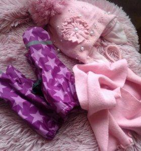 Варежки,шапка, шарф весна-зима на 4-6 лет