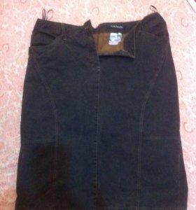 Юбка джинсовая коричневая, 48 р