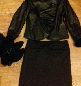 кожаная куртка с норкой , сапоги, юбка