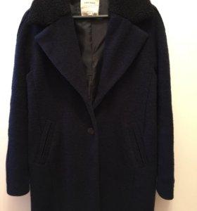 Пальто zara темно синего цвета