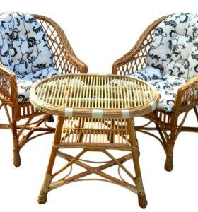 Стол+2 кресла ротанг