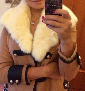 Пальто кашемировое натуральный мех кролика⭐️