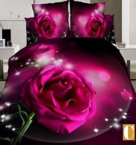 Комплекты постельного белья 3Д макосатин