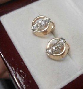 Серьги золото 585 пробы бриллианты