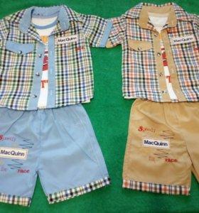 НОВЫЙ костюм летний (рубашка + футболка + шорты)