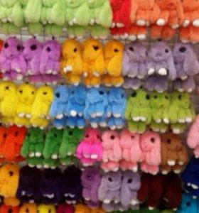 Брелки-зайцы из натур.меха(кролик - ₽экс)🐇🐰