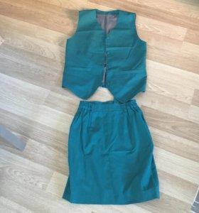 Костюм жилетка и юбка 42 размер