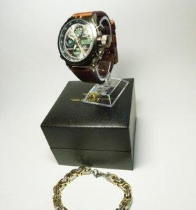 Мужские прочные часы и браслет из стали