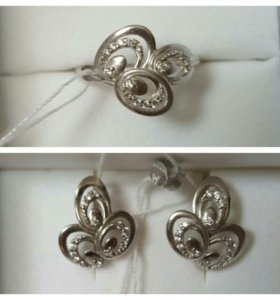 Серьги кольцо серебро