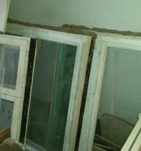 Окна и двери б/у.