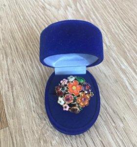 Кольцо с эмалью серебро